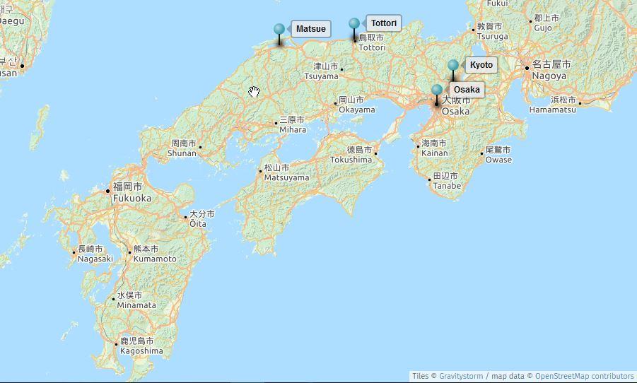 20160822 carte Japon visites