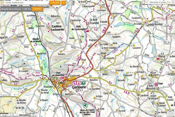 Carte de randonnée sur le chemin de Compostelle