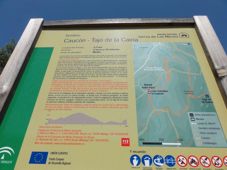 Panneau du parcours de la randonnée