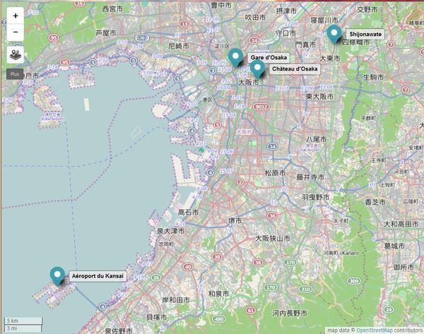 Carte d'Osaka au Japon, avec le quartier de Shikonawate