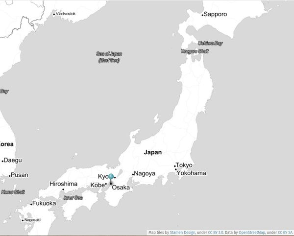 Carte d'Osaka au Japon