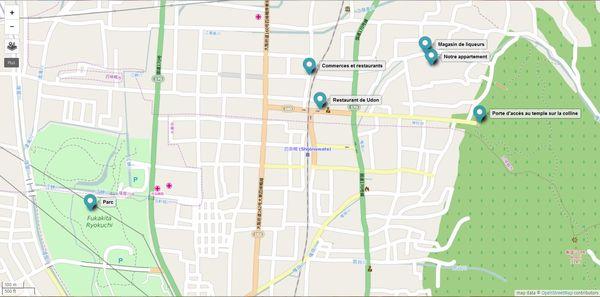 Carte du quartier de Shikonawate