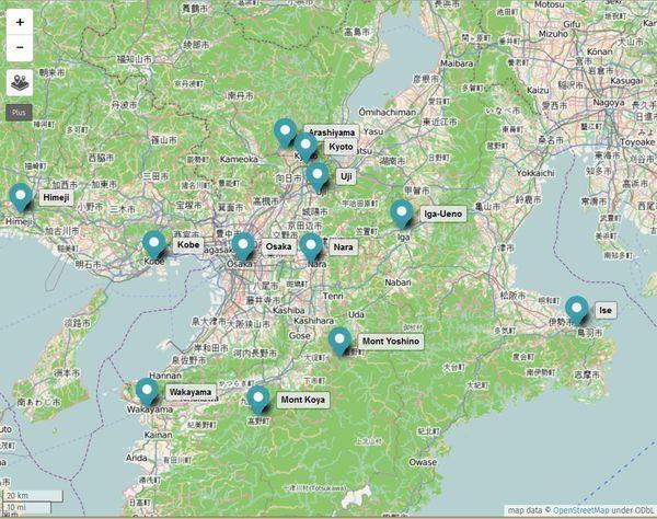 Carte des sites à visiter autour d'Osaka