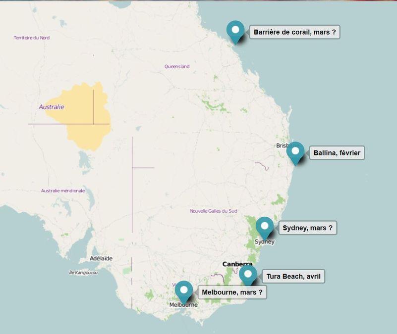Carte etapes australie 2016