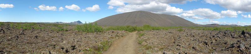 Volcan de cendres Hverfjall en Islande