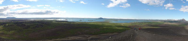 Vue panoramique depuis le sommet du Hverfjall