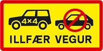 Panneau islandais : route réservée aux 4x4