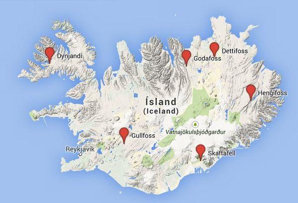 Carte des cascades d'Islande