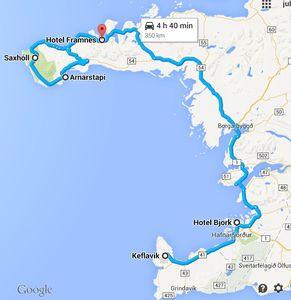 Carte de la péninsule de Snaefellsnes