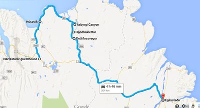Carte d'Husavik à Dettifoss en Islande