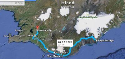 Carte du sud de l'Islande