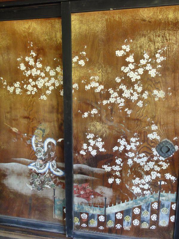 Cloison peinte dans un temple, annexe du Kinkaku-ji, Kyoto