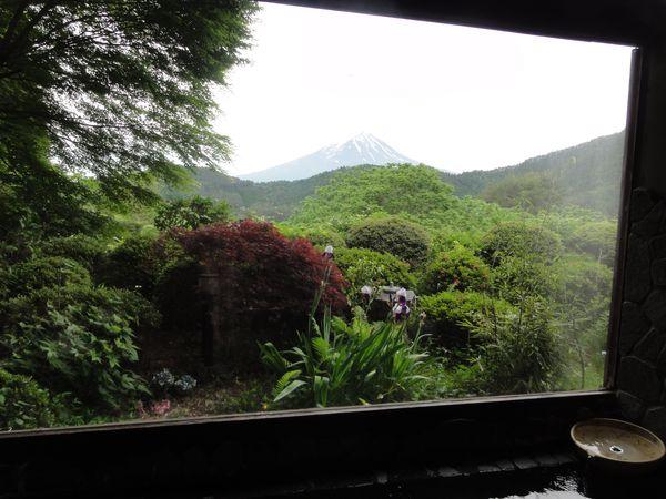 Vue sur le Mont Fuji depuis les bains de l'auberge