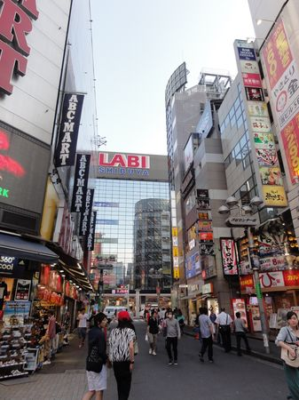 Immeubles couverts d'enseignes à Shibuya, à Tokyo